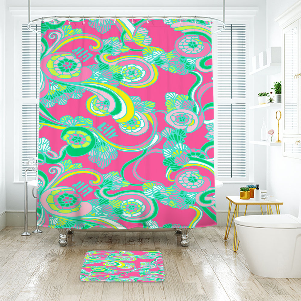 Primary image for Flower Lilly Pattern Shower Curtain Waterproof & Bath Mat For Bathroom