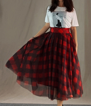 Fall Red Plaid Skirt Outfit Red Plaid Long Tulle Skirt High Waisted Plaid Skirt  image 4