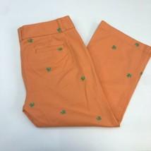 J.Crew Capri Pants Women's 10 Orange Turtle Embroidered Favorite Fit - $18.95