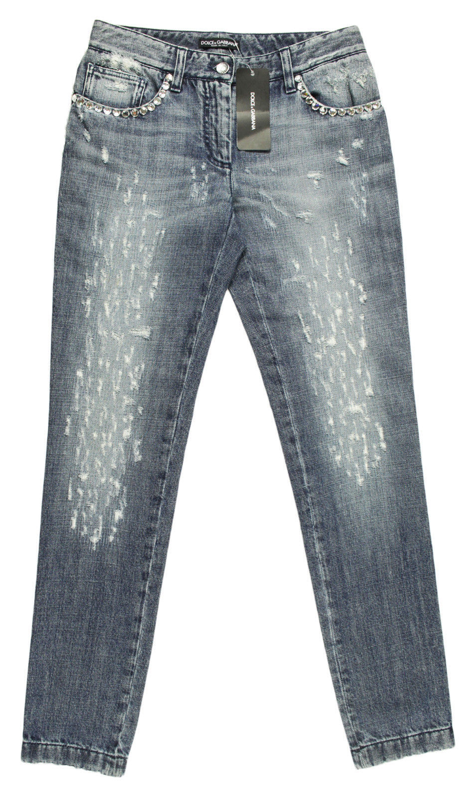 Primary image for NEW WOMENS DOLCE & GABBANA ITALY DISTRESSED SWAROVSKI CRYSTAL JEANS 40 $1795
