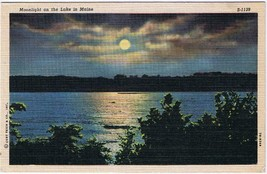 Maine Postcard Moonlight On The Lake Curt Teich - $2.25