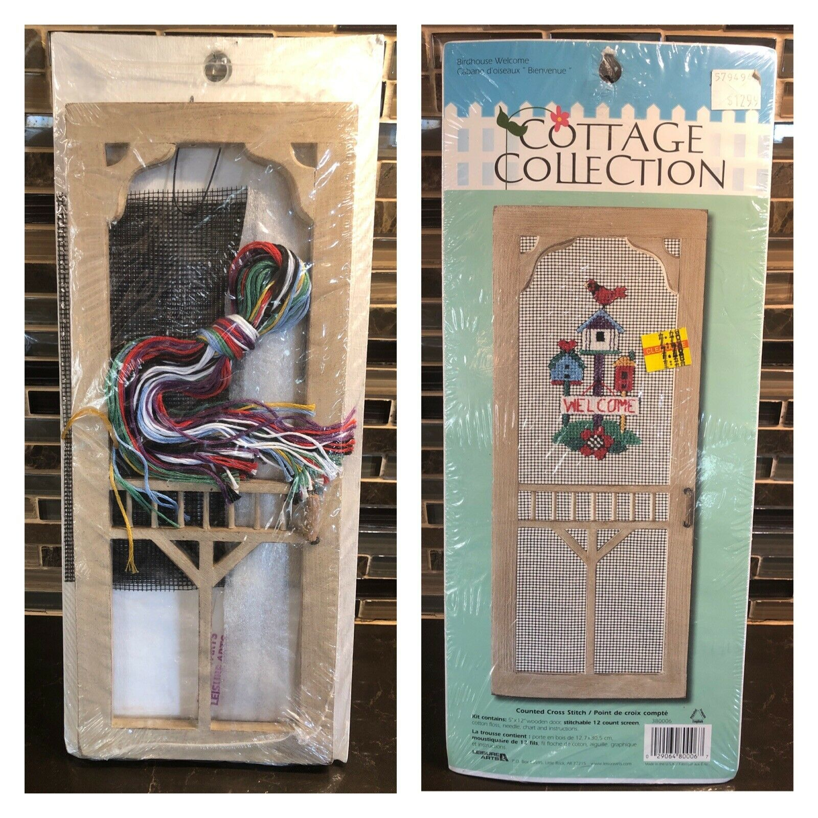 Leisure Arts Cottage Collection Birdhouse Welcome Counted Cross Stitch Kit NIP - $19.79