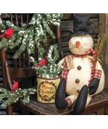 Country CHRIS SNOWMAN DOLL Rustic Primitive Farmhouse Christmas Candy Cane - £45.96 GBP