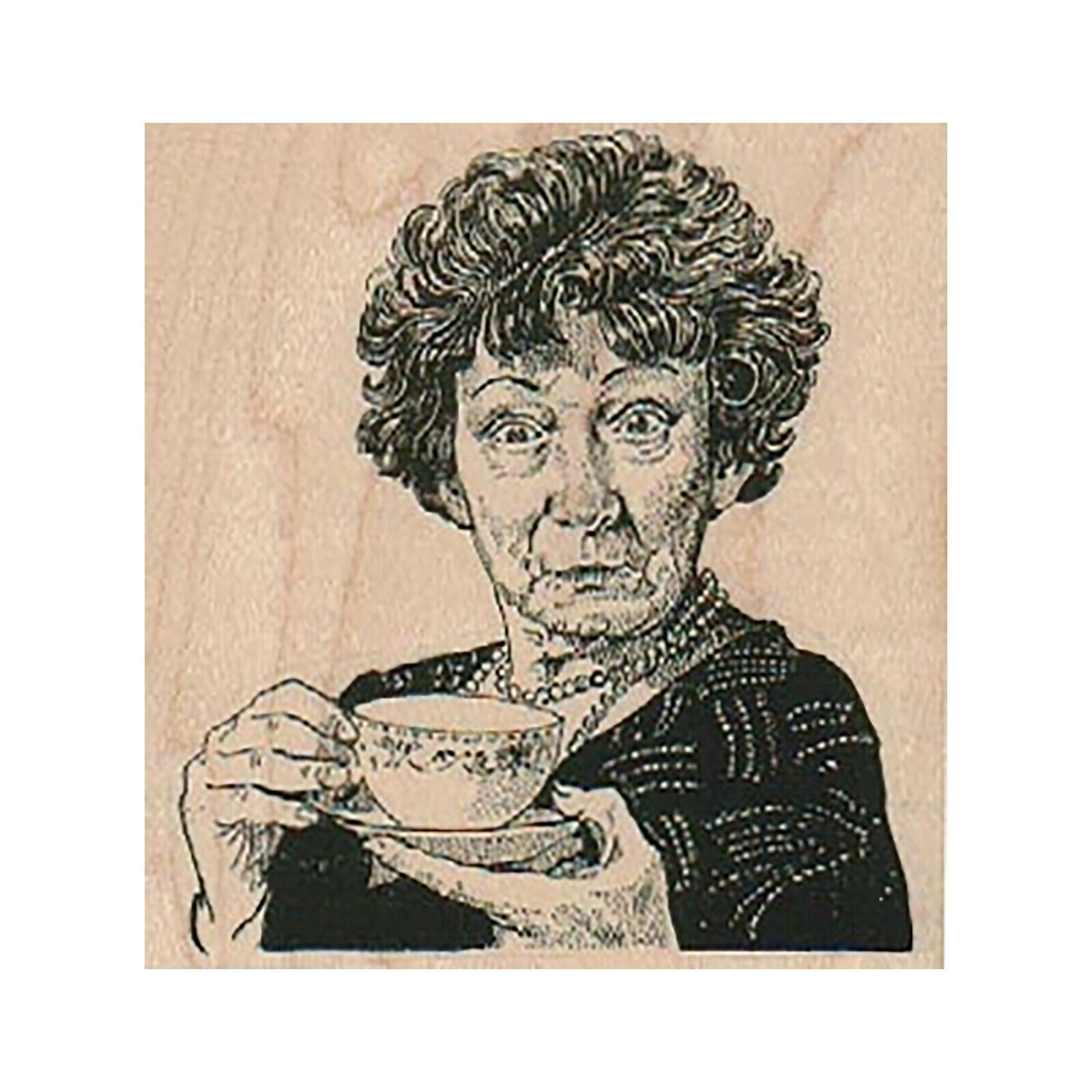 Primary image for Mounted Rubber Stamp, Lady With Tea Cup, Tea Lady, Old Lady, Curious Lady, Woman