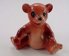 Precious Occupied Japan Pie Eyed Chubby Smiling Happy Brown Bear Cub Figurine - $11.53