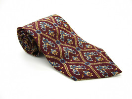 BILL BLASS Silk Brown Mulicolor Floral Pattern Tie Made in Costa Rica - $5.99
