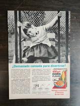 Vintage 1965 Kellogg's Corn Flakes Girl on Swing Spanish Espanol Full Page Ad - $6.64