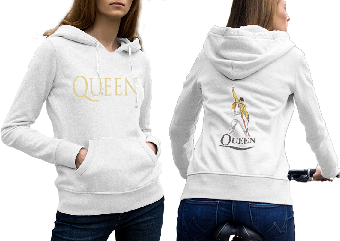 Queen band hoodie classic women white