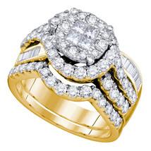 14k Yellow Gold Princess Diamond Bridal Wedding Engagement Ring Set 1-3/4 Ctw - $2,399.00