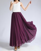 CHIFFON MAXI SKIRT Gray Black Blackberry Maxi Silk Chiffon Skirt Wedding Skirts image 5