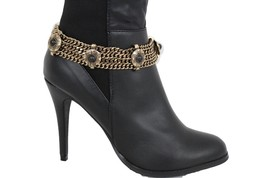 New Women Western Boot Bracelet Antique Gold Metal Chain Shoe Ethnic Black Charm - $17.63