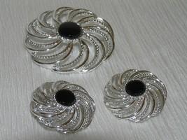 Vintage SARAH COV Signed Demi Silvertone Swirl Circle w Black Enamel Cen... - $13.99