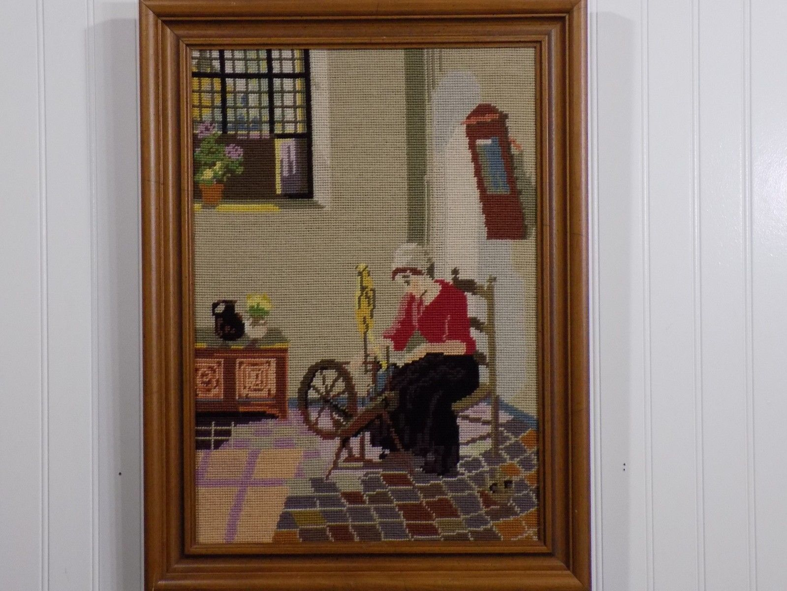 Very Nice Vintage Framed Needlepoint Art Canvas Woman at Spinning Wheel