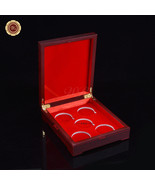 WR Red Wood Coin Display Box Holder For 5 40mm Coin Capsules Collector Gift - $15.01