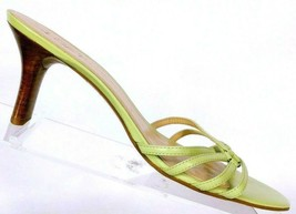 Ann Taylor Loft Women's Green Leather Strappy Heeled Sandals Mules Size 8.5 M - $24.15