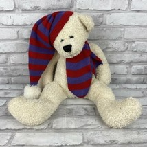 Animal Adventure Plush White Bear Stuffed Animal Red Purple Scarf and Ha... - $20.89