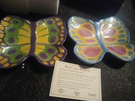Fitz And Floyd Spring Easter Egg Butterfly Plates 6.75 wide - $19.49