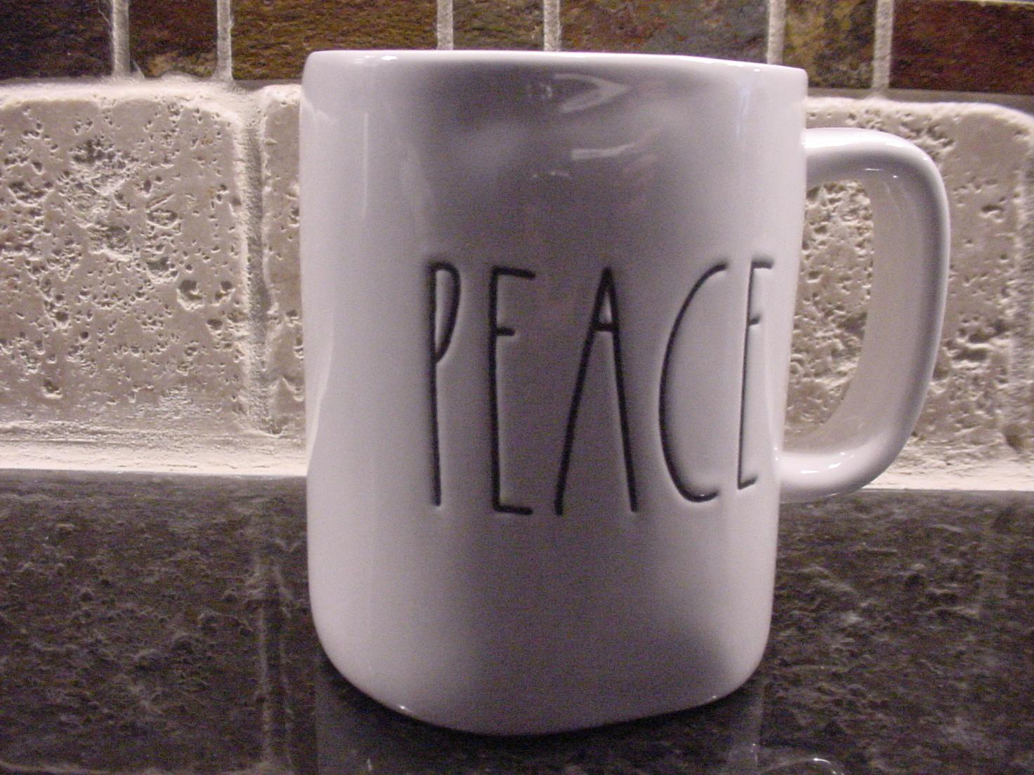 Rae Dunn PEACE Mug, Ivory with Black Lettering
