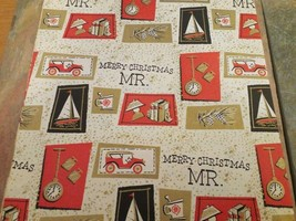 Vintage Merry Christmas MR. Wrapping Paper Gift Wrap Norcross 1950 - $7.91