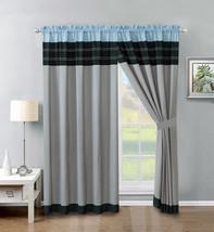 4-P Jordan Embroidery Stripe Lines Curtain Set Blue Black Gray Drape Sheer Liner - $40.89