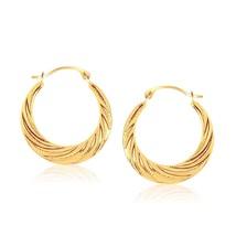 10k Yellow Gold Textured Graduated Twist Hoop Earrings Womens Fashion Jewelry - $49.41