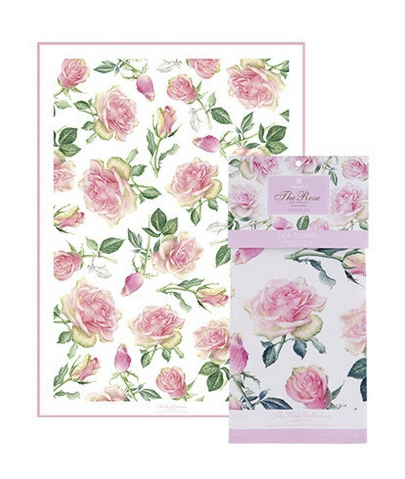 Primary image for Pink Roses Tea Towel Ashdene Flowers 100% Cotton New Enchanted Stems Leaves