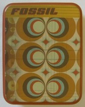 Fossil Collectible Tin Truly Inspired 2003 Gold Brown Orange Geometric Empty - $9.99