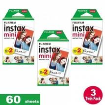 60 sheets Fujifilm Instax Mini Instant Film  For All FUJIFILM Mini CAMERAS - $35.63