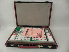 VINTAGE MAHJONG SET WITH CASE 144 PLASTIC TILES 4 BLANKS DIRECTIONS CHIP... - $84.14