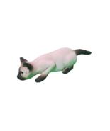 "Siamese Resin Cat Figurine Blue Glass Eyes 7""L Crouching Down White Black - $13.86"