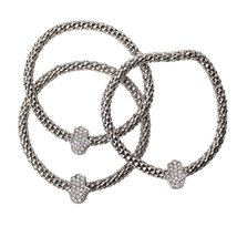 Inspired Silver Sparkling CZ Silver Hamsa Charm Hand Bracelet Set with R... - $393,54 MXN