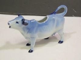 Antique German Delft Porcelain Cow Creamer Blue & White Sailboats - $81.18