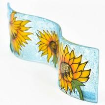 Fused Art Glass Sunflowers Flowers Wavy Decor Sun Catcher Handmade in Ecuador image 2