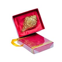 MP Crafts Brass Shankh Conch Shell Lord Ganesha Design Gift for Pooja, H... - $42.03