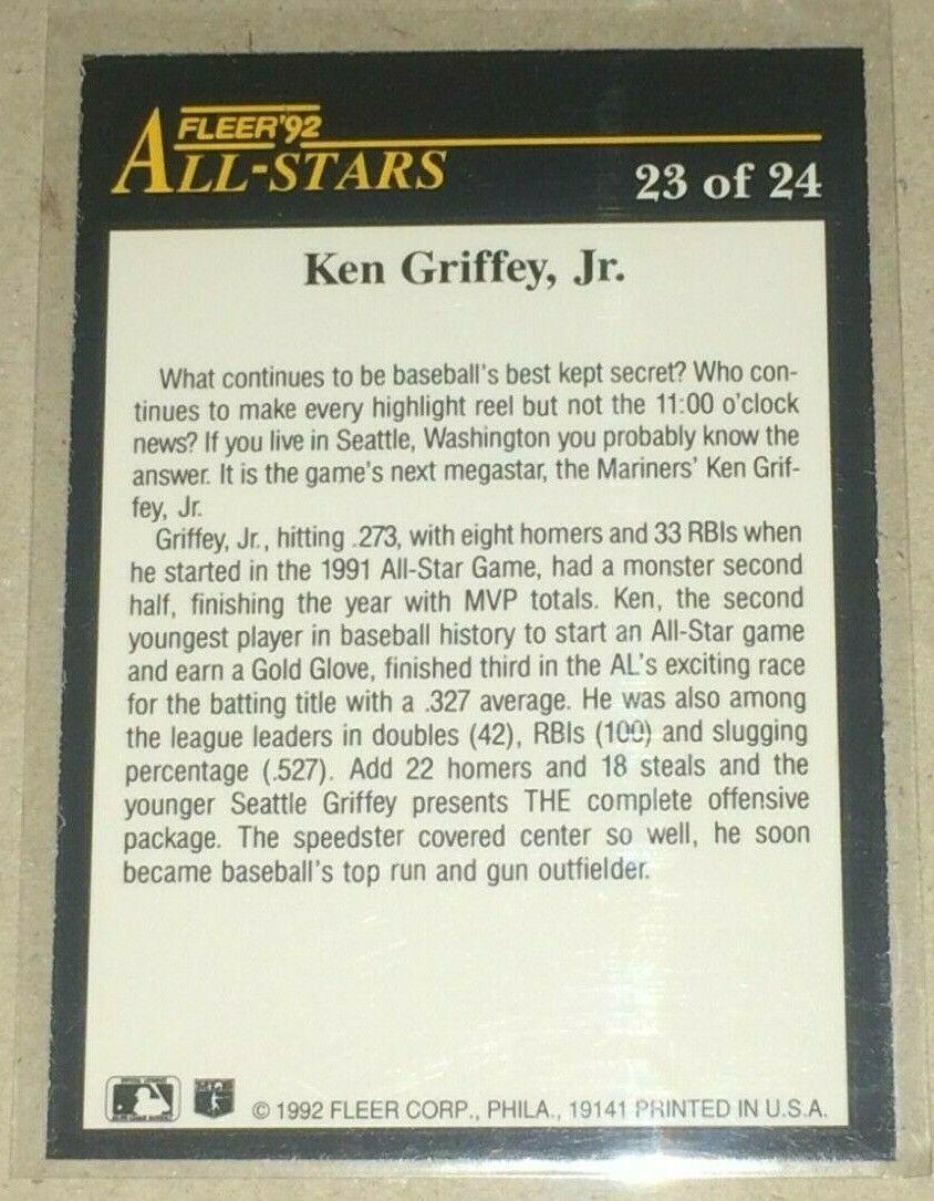 1992 FLEER KEN GRIFFEY JR ALL-STARS INSEERT #23 OF 24 image 2