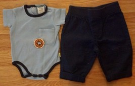 "Boy's Size 0-3 M Month 2 Pc Outfit Blue ""Division Champs"" Top & Navy Pants - $13.50"