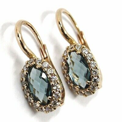 18K ROSE GOLD LEVERBACK FLOWER EARRINGS, OVAL BLUE CRYSTAL, CUBIC ZIRCONIA FRAME