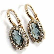 18K ROSE GOLD LEVERBACK FLOWER EARRINGS, OVAL BLUE CRYSTAL, CUBIC ZIRCONIA FRAME image 1