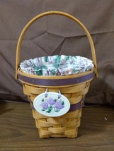Longaberger 1994 May Series Lilac Basket 16209 Fabric Liner Protector Ti... - $29.95