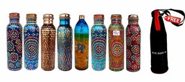 Hand Painted Multi colored Copper Water Bottle Art Work set of 8 With Fr... - $268.21