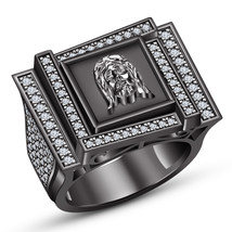 mens jewellery 14k black gold finish pure 925 silver ring design for mal... - $189.99