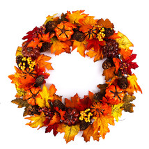 60cm Christmas Maple Leaves Pumpkin Berry Wreath Garland Door Hanging Cr... - $34.14