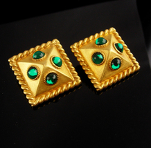 Couture earrings - Green and gold byzantine style  - clip on vintage jew... - $65.00