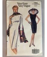 1991 Vogue Sewing Pattern 7960 SZ 6-8-10 Dress Scarf Uncut - $5.89