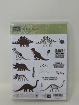 Stampin Up No Bones About It Stamp Set Dinosaur Rawr Fossil Set of 18 New - $39.59