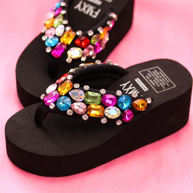 Black Flip Flops Wedge Summer Sparkle Sandal Shoes Colorful Stones Bling Girl image 3