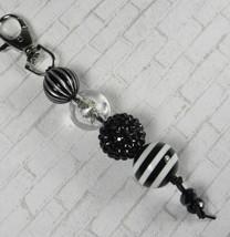 Rhinestone Stripe Bubblegum Handmade Beaded Keychain Purse Charm Black S... - $13.09