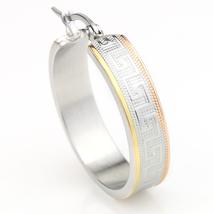 Sophisticated Tri-Color Silver, Gold & Rose Tone Hoop Earrings- United Elegance image 2