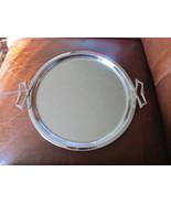 Vintage Mid Century Kromex Handled Shiny Round Chrome Tray - $9.99
