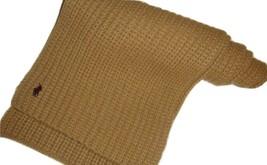 Polo Ralph Lauren 100% Wool Sweater Knit Tan Khaki Warm Cozy Unisex Scarf - $34.97